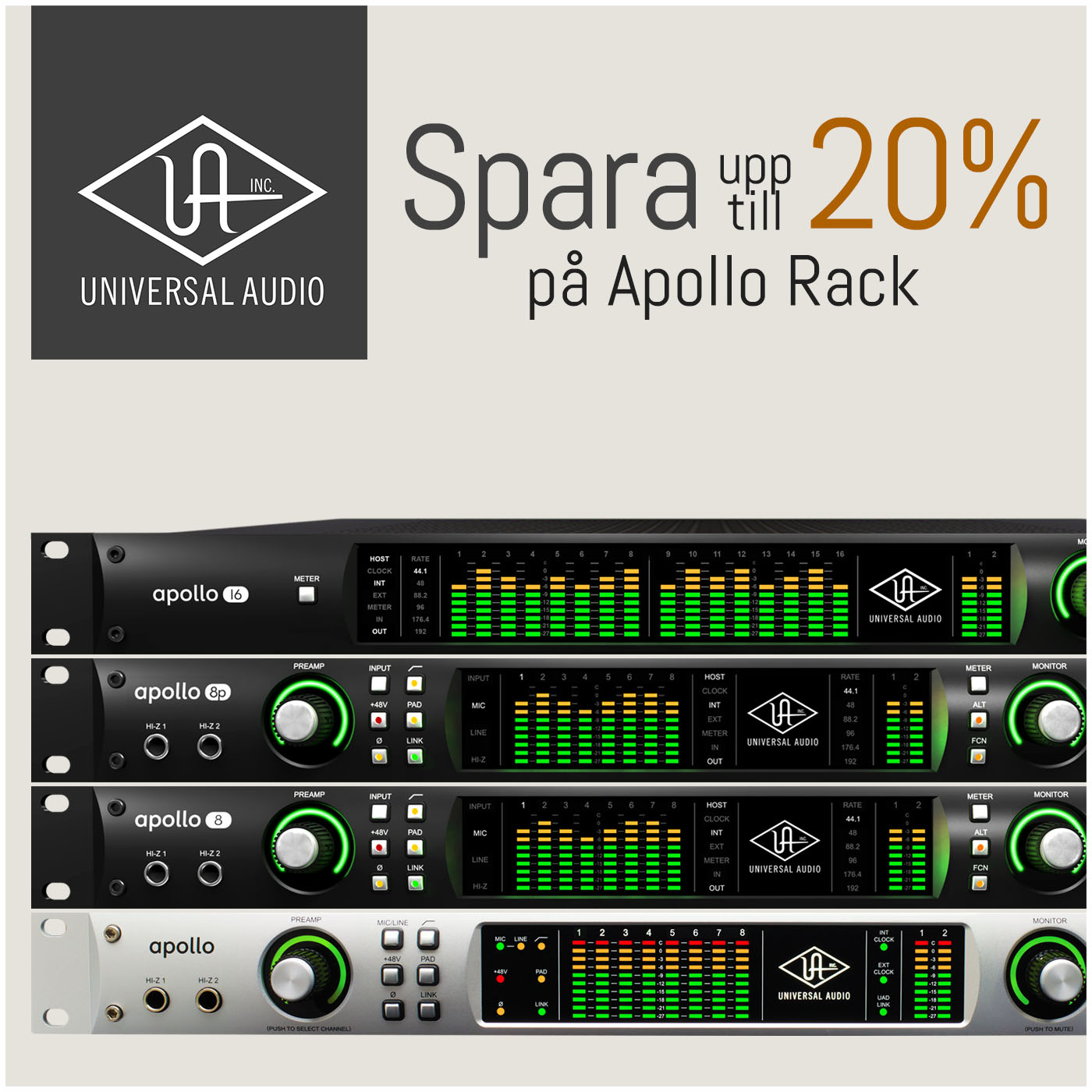 Universal Audio kampanj – Spara 20% på Apollo Rack