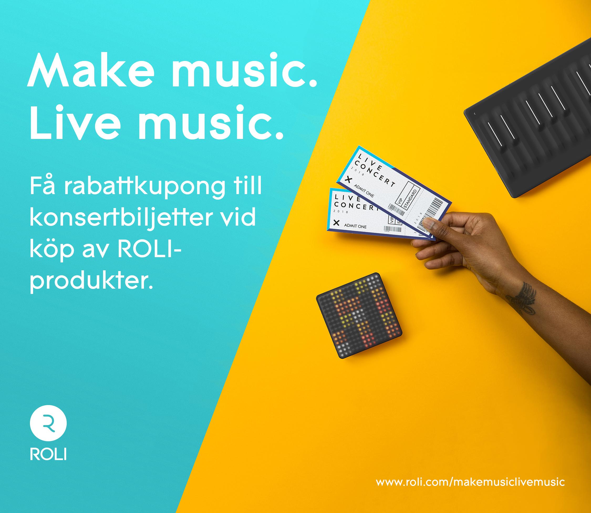 ROLI kampanj – Få rabattkupong till konsertbiljetter vid köp av ROLI-produkter