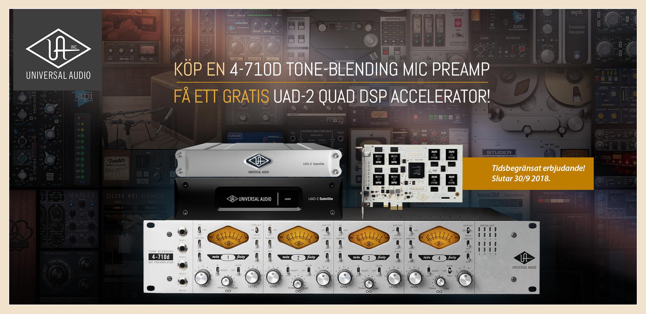 Universal Audio kampanj – Köp 4-710d mikrofonpreamp och få gratis UAD-2 QUAD
