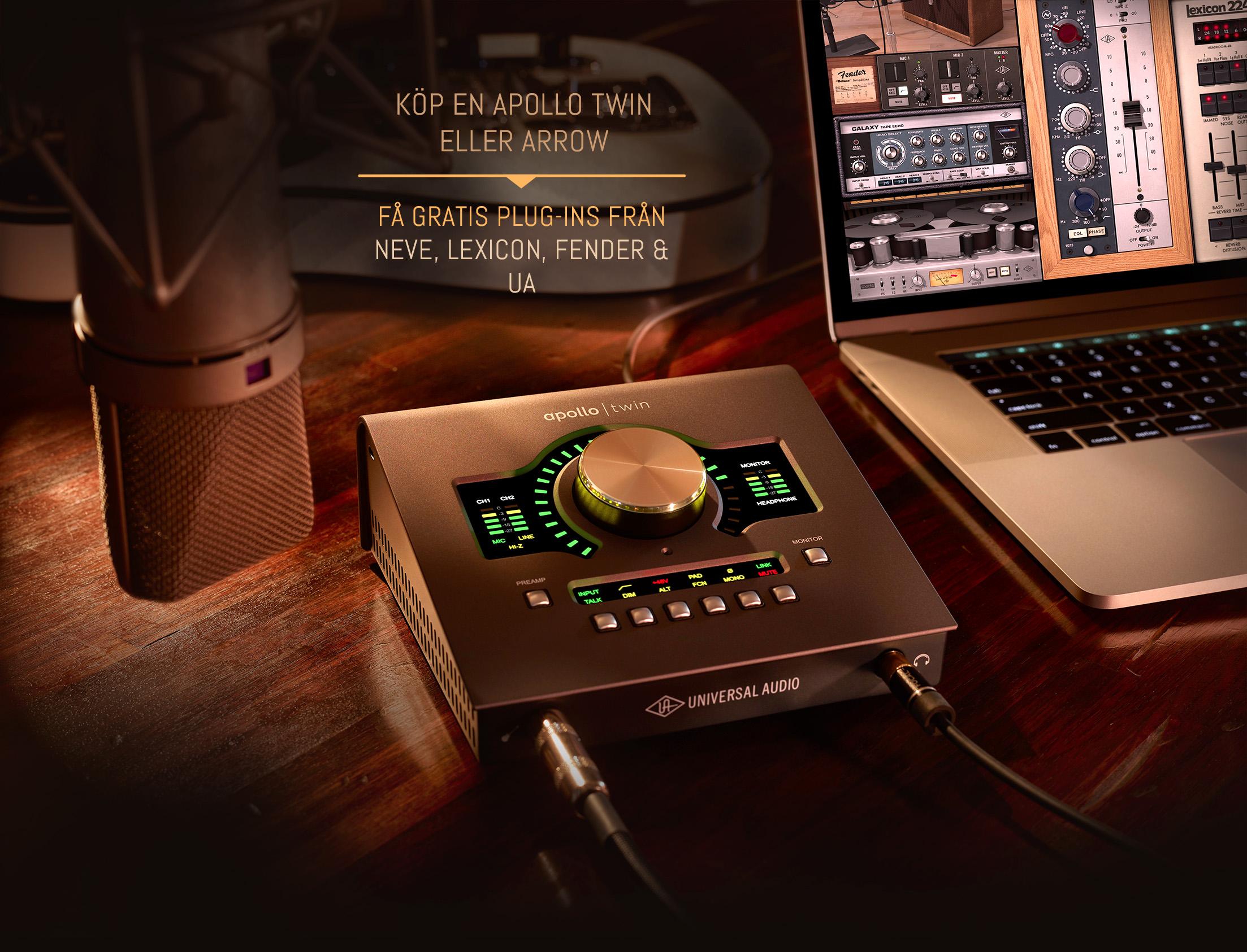 Universal Audio Kampanj – Köp Apollo Twin eller Arrow och få gratis plug-ins från Neve, Fender, Lexicon och UA