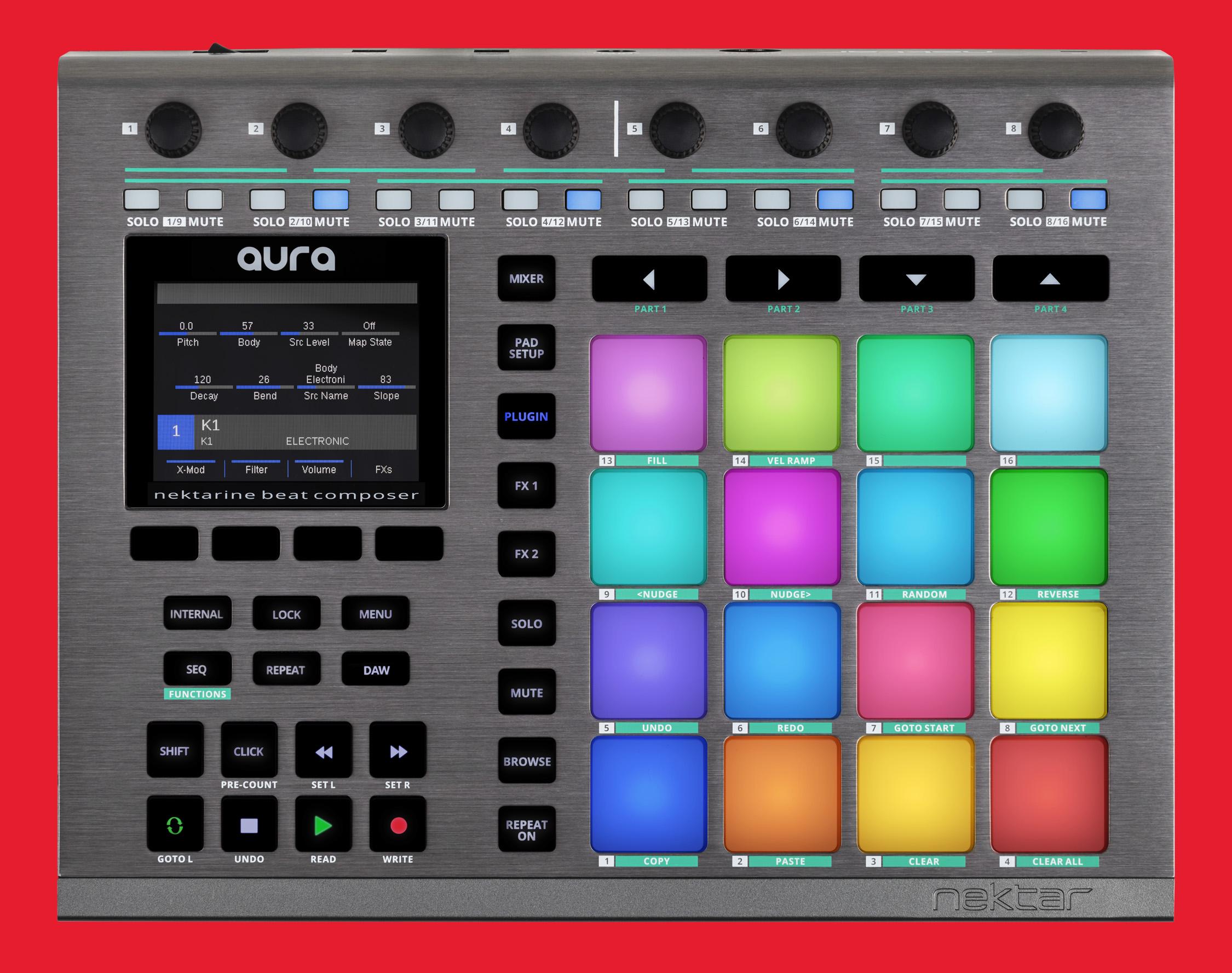 Nektar AURA – Ny avancerad DAW-kontroller med 16 upplysta pads