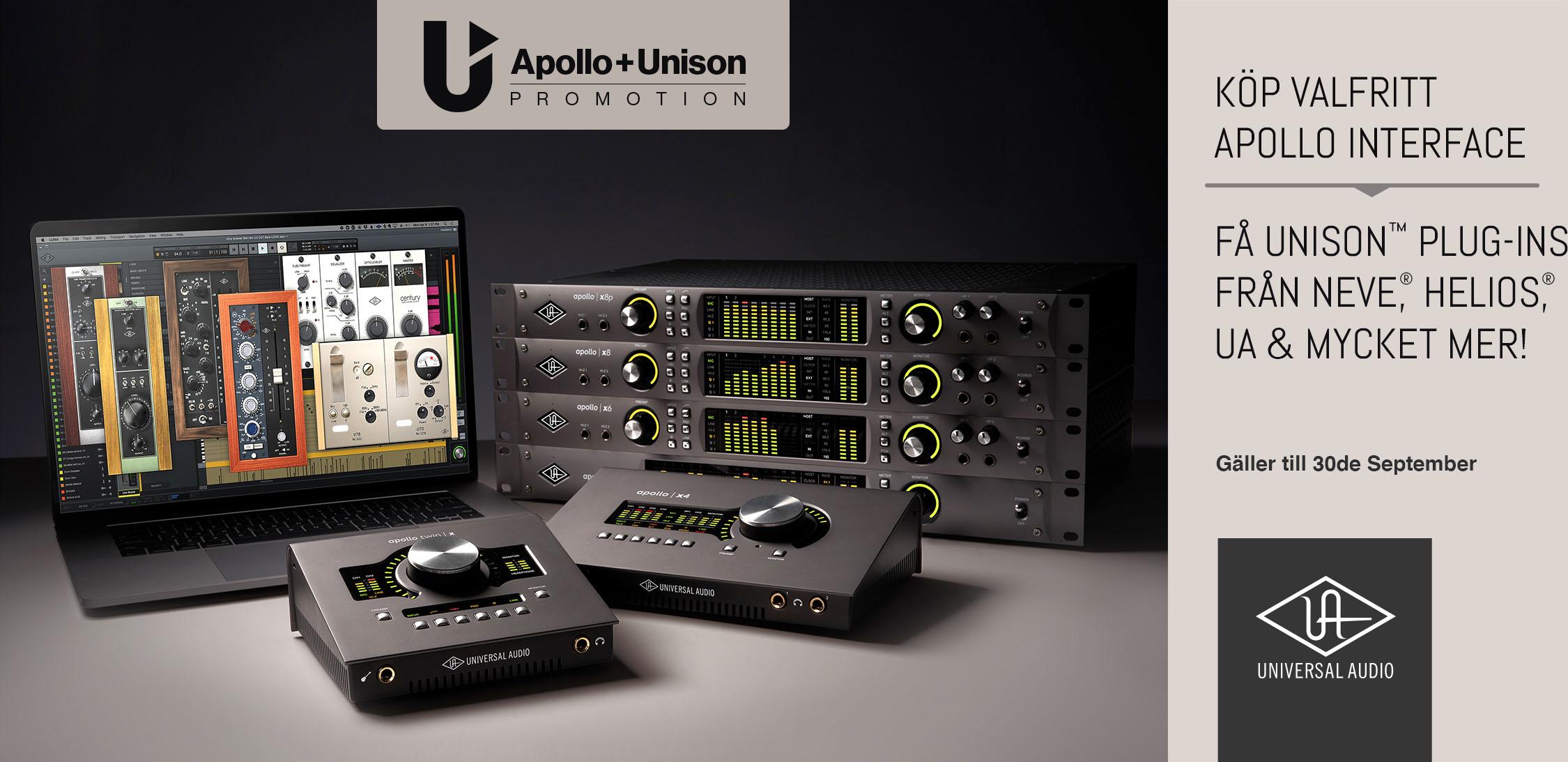 Universal Audio kampanj! Köp valfritt Apollo kort och få Unison Plug-ins från Neve, Helios, UA & mycket mer!